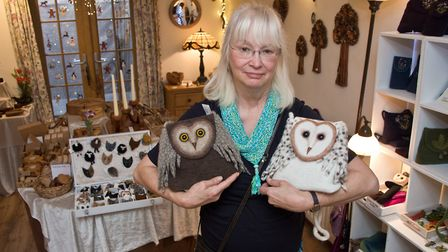 Renate O'Donnell with some of her beautiful felt-work. Picture: MARK ATHERTON