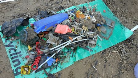 The rubbish collected from 100m of Weston Beach.