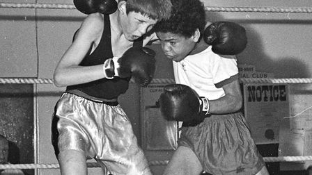 J. Anderson (Bournville) beat P. Strong (Yeovil) at Bournville Amateur Boxing Club's first inter-clu