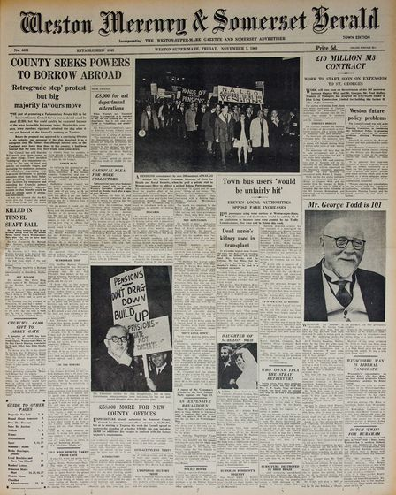 Front Page 7th November 1969 Edition. Picture: WESTON MERCURY