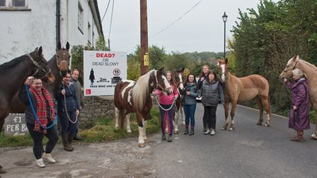 Horse riders in Hutton, forced to take down speeding signs by the council. Picture: MARK ATHERTO
