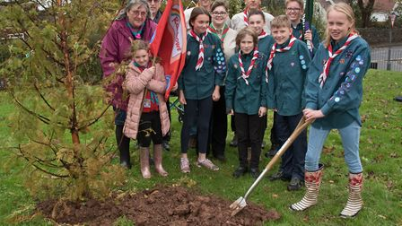 Banwell Scouts and Guides taking part in the war memorial tree planting at the Recreation Ground in