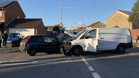 The crash has led to Wansbrough Road being blocked. Picture: Avon and Somerset Fire and Rescue Servi