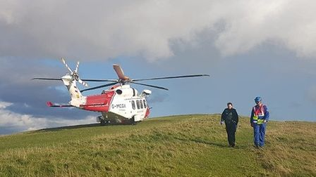The coastguard helicopter was called to Brean Down to rescue a walker who had fallen ill.