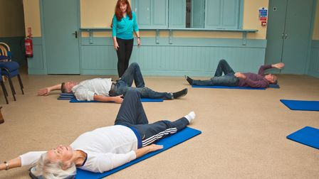 Jane Roberts giving Pilates taster lessons at Wedmore Health and wellbeing day. Picture: MARK ATH