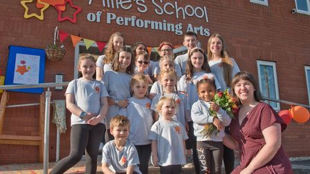 Tillie Bolton with students at the opening of Tillie's School of Performing Arts. Picture: MARK A