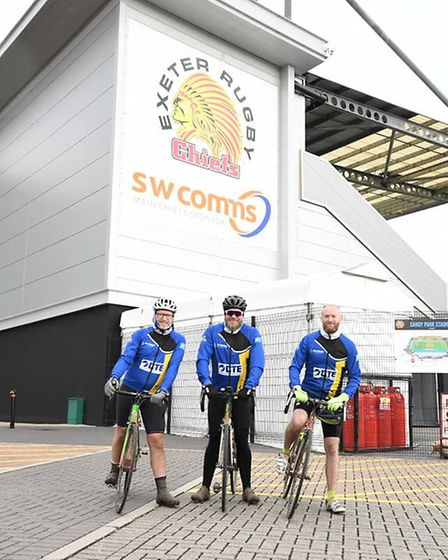 The cyclists outside Exeter Chief's Sandy Park stadium. Picture: Henriette Lang Photography
