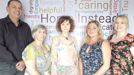 Mike Keig, Laetitia Hannan, Connie White, Vicky Lodge and Nikki Lawton of Home Instead. Picture: Hom