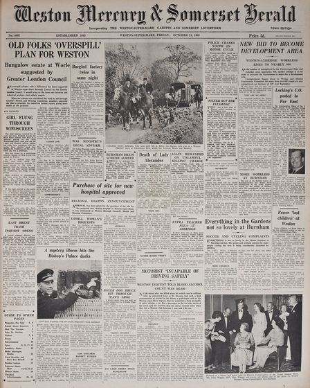 Front Page 24th October1969 Edition. Picture: WESTON MERCURY