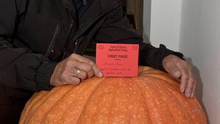 Howard Sims and his giant pumpkin at Yatton Autumn Show. Picture: MARK ATHERTON