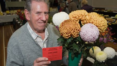 John Jackson with some of his prize-winning flowers at Yatton Autumn Show. Picture: MARK ATHERTON