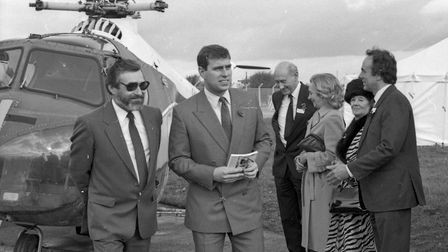 His Royal Highness Prince Andrew opening Weston Helicopter Museum November 3rd 1989. Picture: WE