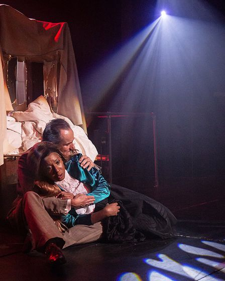 Eva and Peron in one of the show's sad scenes. Picture: Stewart McPherson