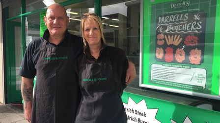 Husband and wife team Darrell and Alison Wood will close their butchers shop next month.Picture: Lil