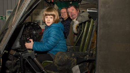 Former RAF Sgt. Paul Smooker showing visitors around at Weston Helicopter museum open cockpit day.