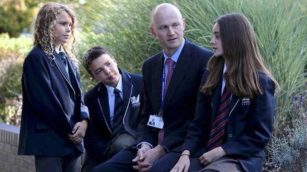 Gordano School headteacher Tom Inman with pupils.