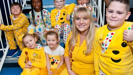 Windwhistle Primary School pupils dressing in spots for Children in Need. Picture: MARK ATHERTON