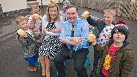 Haywood Village Academy having a 'soak the teacher' fund raiser for Children in Need. Picture: MA