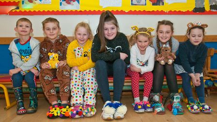 Yatton Junior and infant schools pupils with spotty upcycled shoes and boots for Children in Need.