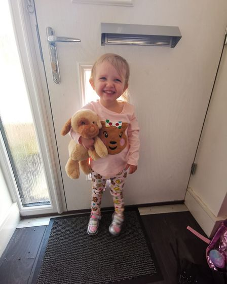 Georgina Roberts getting ready to head to Little Starz Day Nursery. Picture: Natalie Roberts