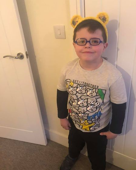Codey, aged six, with a fantastic set of Pudsey ears. Picture: Kacie Horner