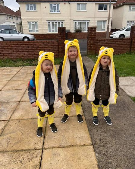 Riley, Bailey and Jordan before school all ready for Children in Need. Picture: Helen Thompson