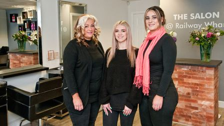 Kimberley Hunt, Kaitlin Haskell and Emily Jones at The Salon at Railway Wharf.Picture: MARK ATHERTON