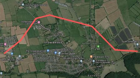 The indicative route of the Banwell bypass in North Somerset Council's Local Plan. Picture: Google