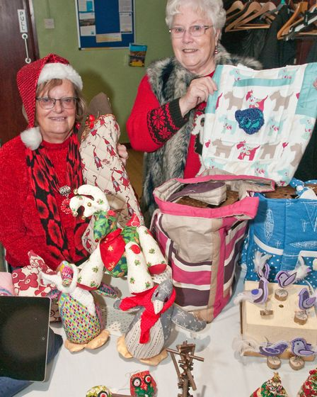 Linda Lacey and Jenny Flavell raising money for Weston Sea Cadets at Kewstoke Church Crafts for Chri