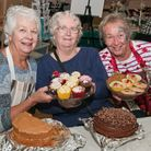 Barbara Petry, Sue Adams and Lesley McCann from Birnbeck Regeneration Trust selling cakes at their C