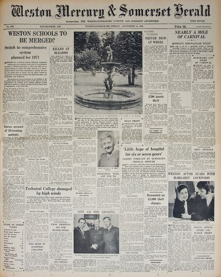Front Page 14th November 1969 Edition. Picture: WESTON MERCURY