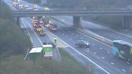 Traffic is being turned around at jjunction 22. Picture: Highways England