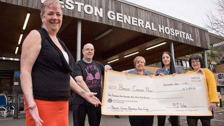 Pauline White, pictured with friends and colleagues from Weston Hospital who have helped her raise £