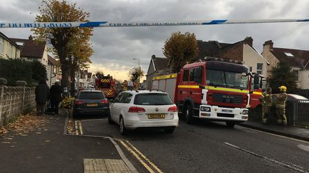 Crews are tackling a fire in Bathurst Road. Picture: Vicky Angear