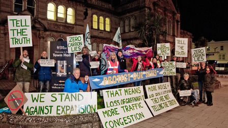 Campaigners protesting about Bristol Airport's potential expansion ahead of Weston Town Council meet