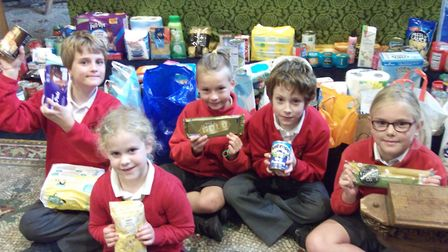Wraxall Primary School pupils collected more than 100kg of food. Picture: Amy Townsend