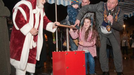 Father Christmas, Mayor Mark Canniford and guests switching on the Weston Christmas lights at the It