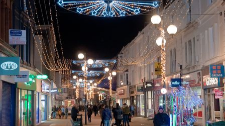 Weston Christmas lights in High Street. Picture: MARK ATHERTON