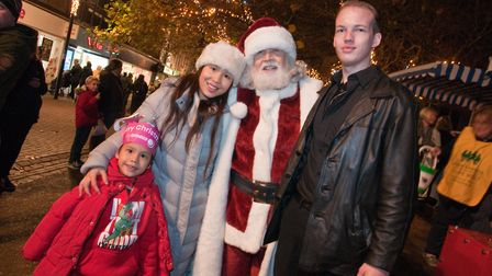 Father Christmas and his family at the Weston Christmas lights switch on at the Italian Gardens in H