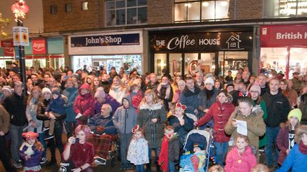 People enjoying the Weston Christmas lights switch on at the Italian Gardens in High Street. Pict