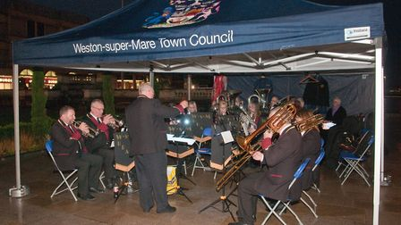 Weston Brass playing at the Weston Christmas lights switch on at the Italian Gardens in High Street.