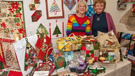 Brockley Quilters Wendy Dorey and Barbara Webber at Chelvey Christmas fair in St Bridget's Church.