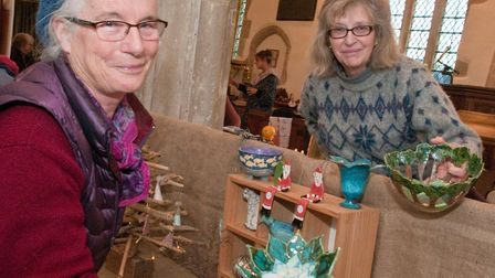 Jacqui Olver and Conny Ridge with hand crafted giftsat Chelvey Christmas fair in St Bridget's Church