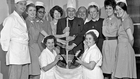 An important operation is carried out at Weston Hospital - the Christmas pudding mixture is prepared