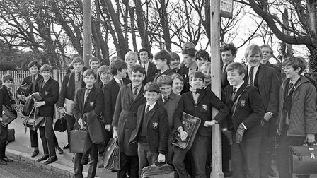 Smiling Weston Grammar School boys made happy by a half-day's holiday owing to the teachers' strike,
