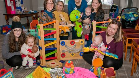 Visitors and volunteers at Weston Toy Library stay and play for Children in Need. Picture: MARK A