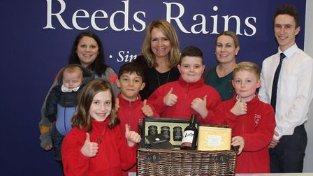 St Peter's Primary School with the hamper. Picture: Tracey Fowler