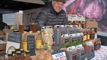 Paul Loader with Loaders Cider at eat:Burnham Xmas market.Picture: MARK ATHERTON