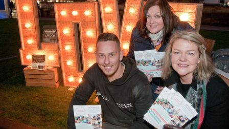 Nathan Millier, Jane Main and Sally Hill from The Weston Collective at Weston Christmas light switch