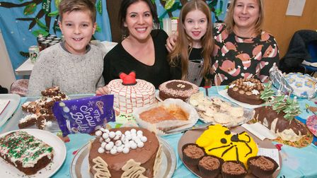 Leo, Katy, Milly and Wendy on the cake stall at Hutton School Christmas Fete. Picture: MARK ATHER